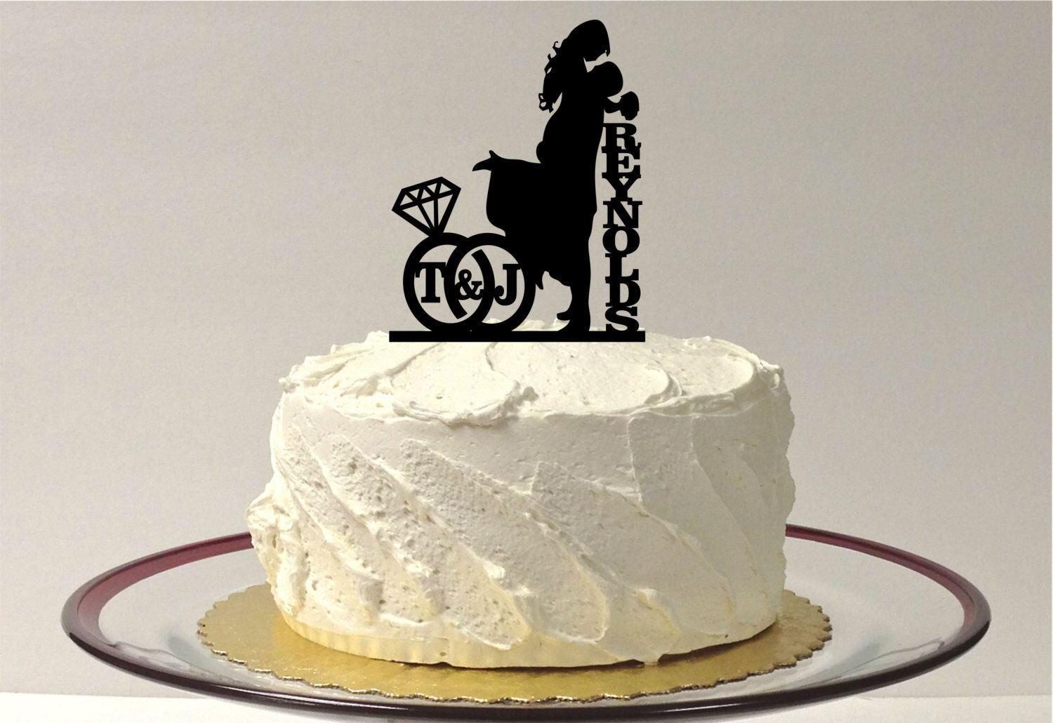 Made in usa personalized wedding cake topper with your family last