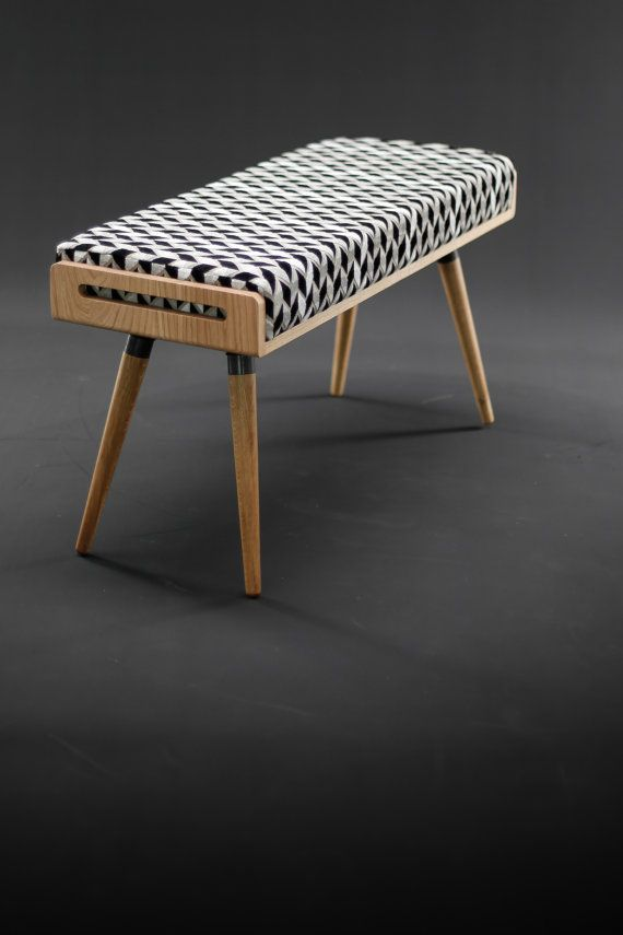 Stool Seat Ottoman Bench Made In Oak Board And Solid Legs Upholstered Grey Linen Dimensions 37 Wide X 13 7 Deep 17 High