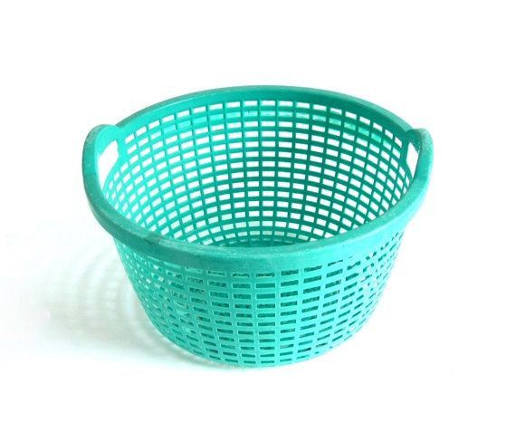 Turquoise Laundry Basket Vintage 1950s Round Plastic Clothes