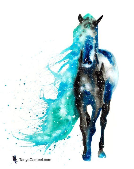 Wild Horse Art Print Cosmic Animal Watercolor 8x10 In 2020