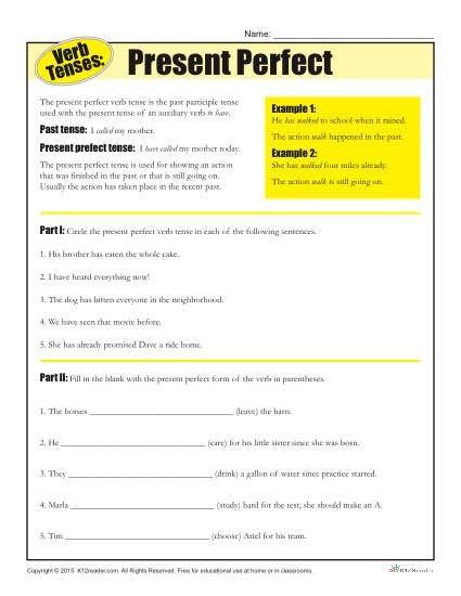 Verb Tense Worksheets Present Perfect Homeschool