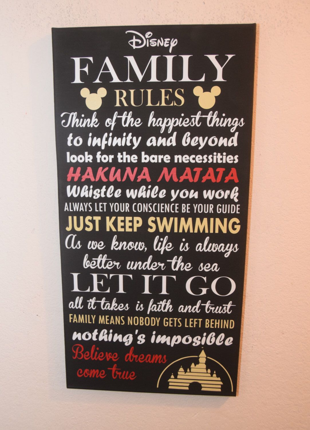 Inspirational quote sign family rules sign unique disney wall decor canvas sign