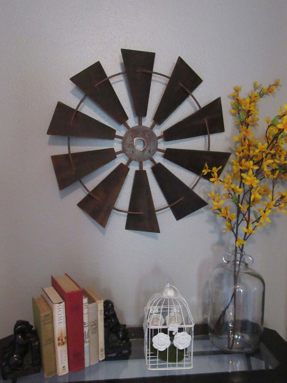 Industrial Wall Decor 24 Inch Full Windmill Head Wall Decor Rustic Farmhouse Industrial