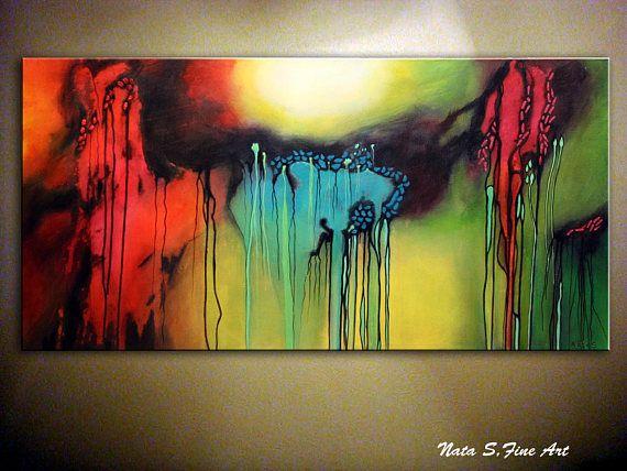 Dekorieren Sie Ihr Home U0026 Office Mit Original Abstrakte Malerei, Moderne  Acryl, Bunte Wand Dekoration, Leinwand Wandkunst, Wohnzimmer Gemälde, Großu2026