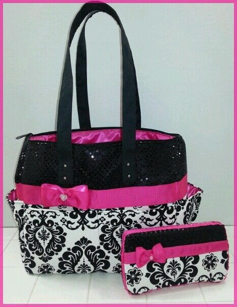 Damask Diaper Bag Hot Pink Black Sequin Bow Wipe Case Tote In Baby Ebay