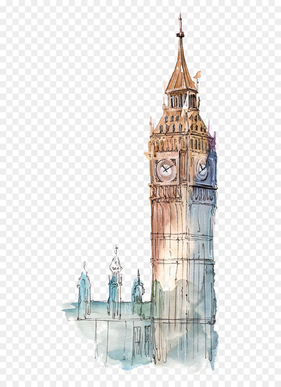 Big Ben Big Ben Watercolor Illustration Big Ben London Painting London Drawing