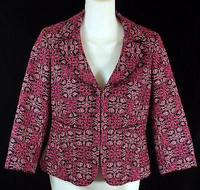 Talbots Blazer Jacket Womens Petites Size 4 Black and Pink with Filigree Print