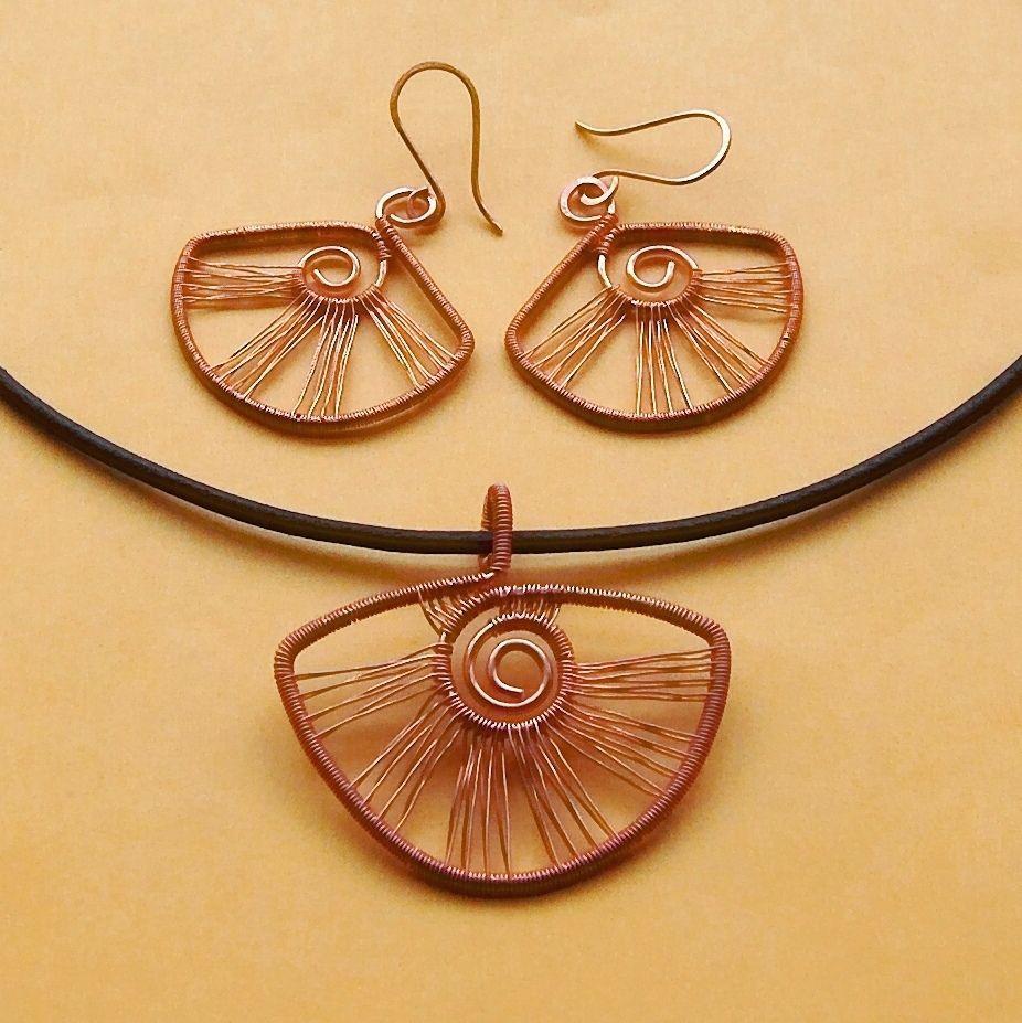 Copper fan earring and pendant set | by izabako