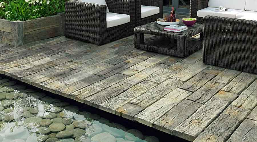 Timberstone Replica Wooden Sleeper Effect Concrete Paving Slabs Look Like  Real Wood And Provide Grip Around Wet Areas