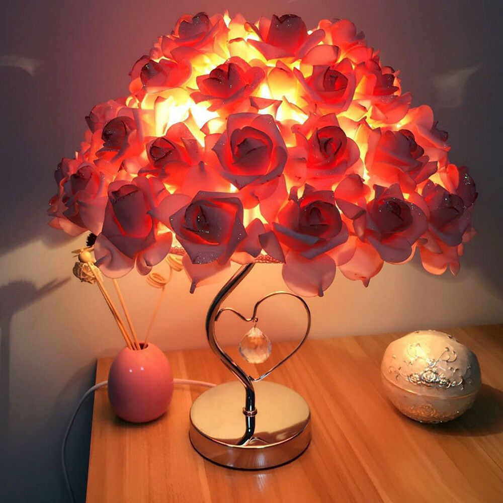 Details About Rose Table Desk Lamp Flower Shade Light Home Commercial Decoration Us Seller S Flower Lamp Lamp Table Lamp