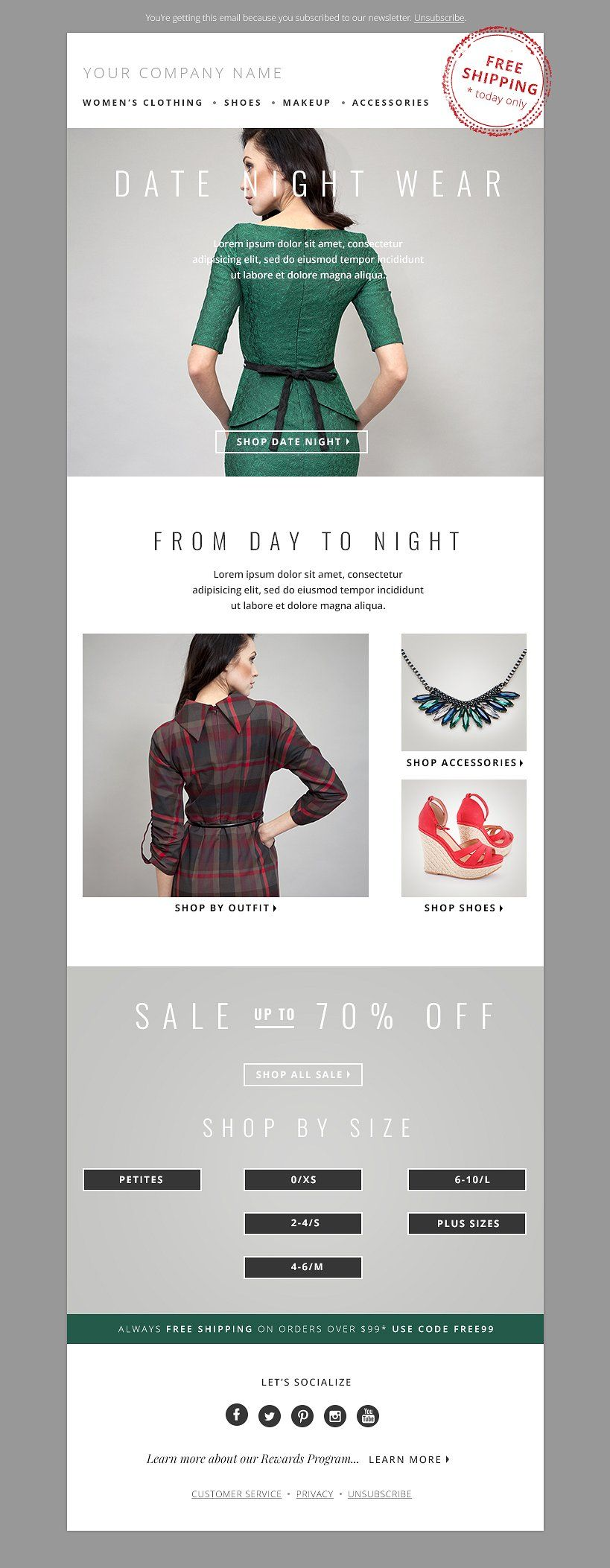 Fashion Email Template PSD Bundle | Newsletter templates and Template