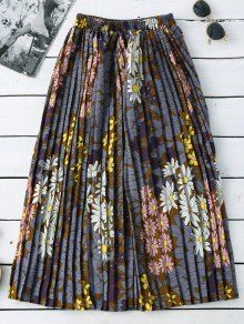 Material: Cotton Blends  Length: Mid-Calf  Silhouette: Pleated  Pattern Type: Floral  Weight: 0.3200kg  Package: 1 x Skirt