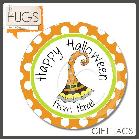 Personalized Happy Halloween Witch Hat Gift Tags or Cupcake Toppers or Stickers with Orange Polka Dots by HeadsUpGirlsHolidays, $6.00