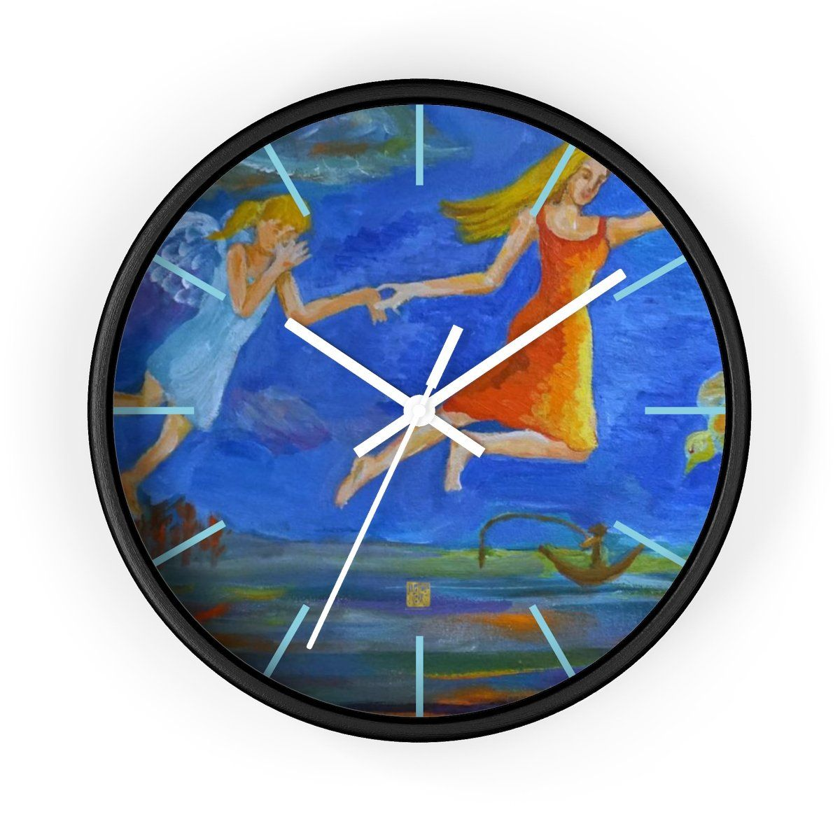 Angels From Heaven Designer 10 Inch Large Blue Modern Wall Clock Made In Usa Wall Clock Clock Wall Clock Modern