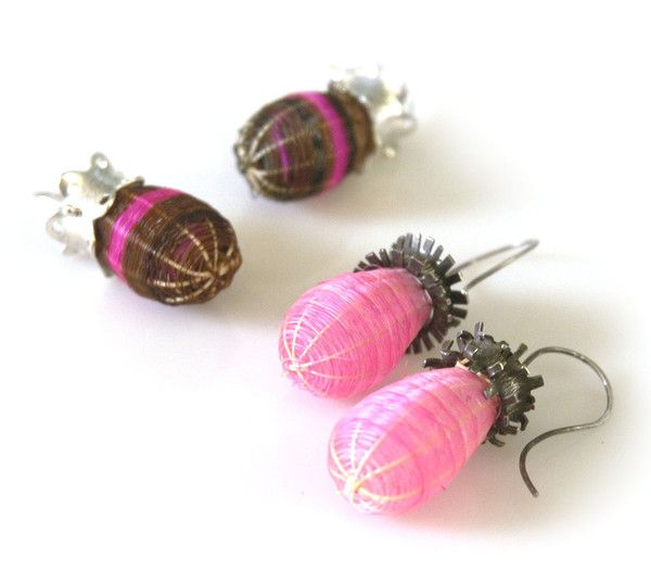 Analya Cespedes - Woven in the traditional Chilean style these earrings have hand dyed, woven horse hair baskets topped with oxidized and sterling silver decorative caps that house the sterling wire hooks - 190 $