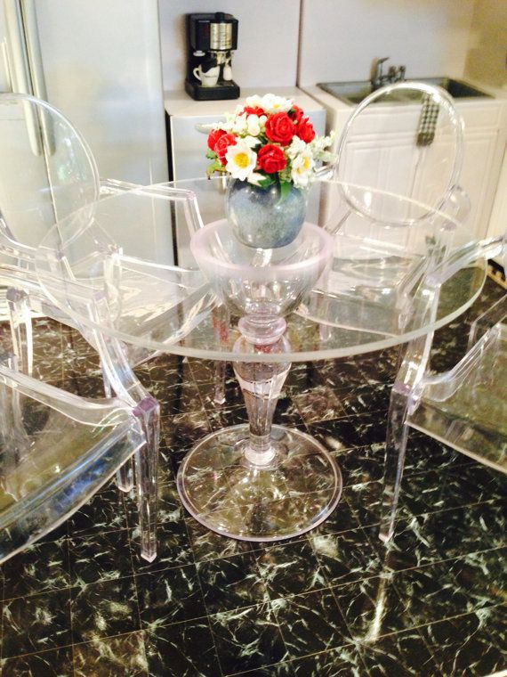 1 6 Scale Made To Order Clear Acrylic Table With Optional Chairs