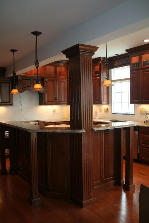 Pos Of Kitchen Islands With Seating   White And Open Kitchen When You Re Stuck With Beams And Columns