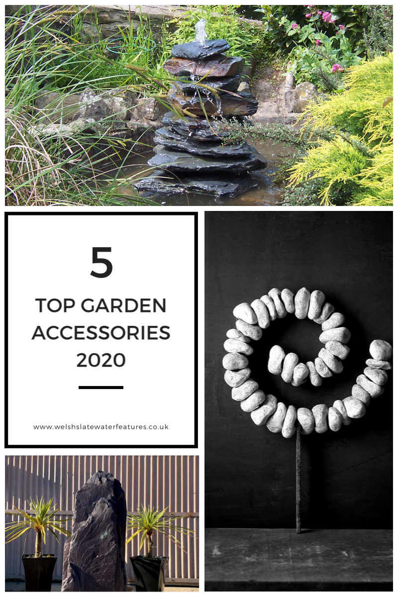 Welcome to our guide for the Top 5 Garden Accessories in 2020, a list of stunning design features to enhance and highlight both contemporary and traditional gardens. The list includes unique stone water feature pieces, hand crafted in the UK. #waterfeatures #slate #gardening #gardendesign #gardeninspiration #gardendecor #gardendecoration #gardenideas #gardeningdiy #buyonline #gardenart #gardenblog #blog