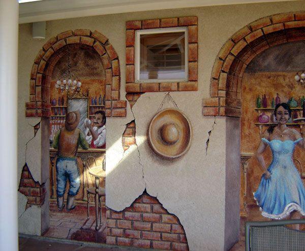 Mexican cantina exterior murals fiesta pinterest for Exterior mural painting