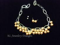 Caramel Glass Pearls and Chain Necklace and Earring Set by KL Jewelry Design $25.00