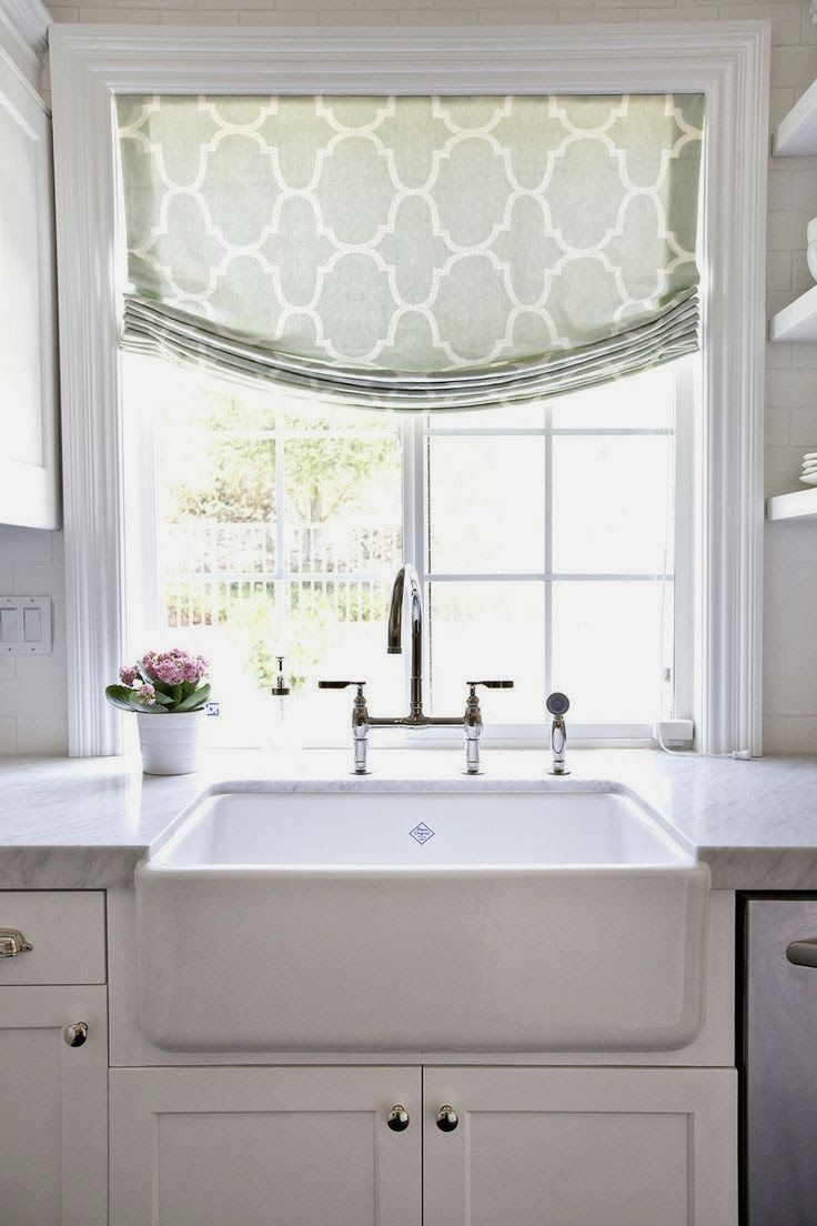 Kitchen Window Treatments White Farmhouse Sink Home Decor