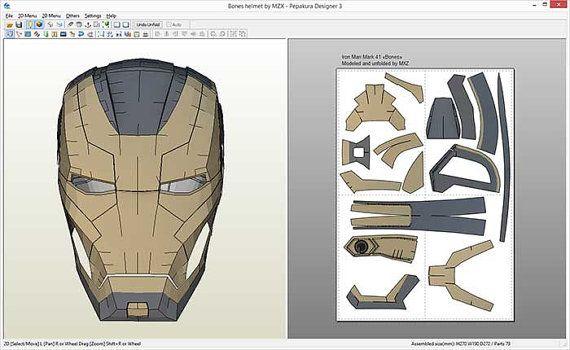 Iron Man Mark 41 Bones Helmet Pepakura File Iron Man Iron Man