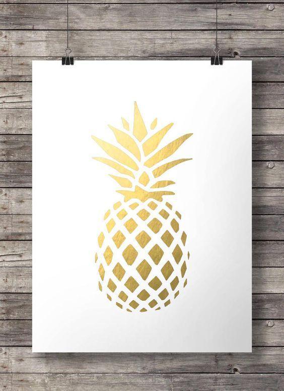 Goldene Ananas print - tropische Ananas Gold Ananas Print Faux Goldfolie Print minimalistischen Kunstdruck moderne Inneneinrichtungen Luxe Wandkunst