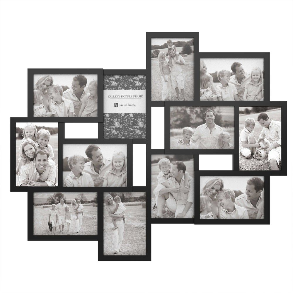 Collage Picture Frame With 12 Openings For 4x6 Photos By Lavish Home Black In 2020 Collage Picture Frames Collage Frames Picture Collage