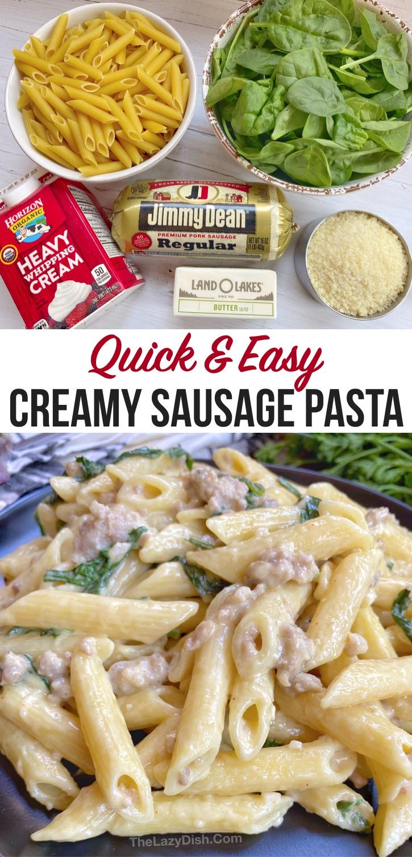 20 Minute Creamy Garlic Sausage Pasta Quick Easy Dinner Recipe Recipe Dinner Recipes Easy Quick Creamy Sausage Pasta Sausage Pasta