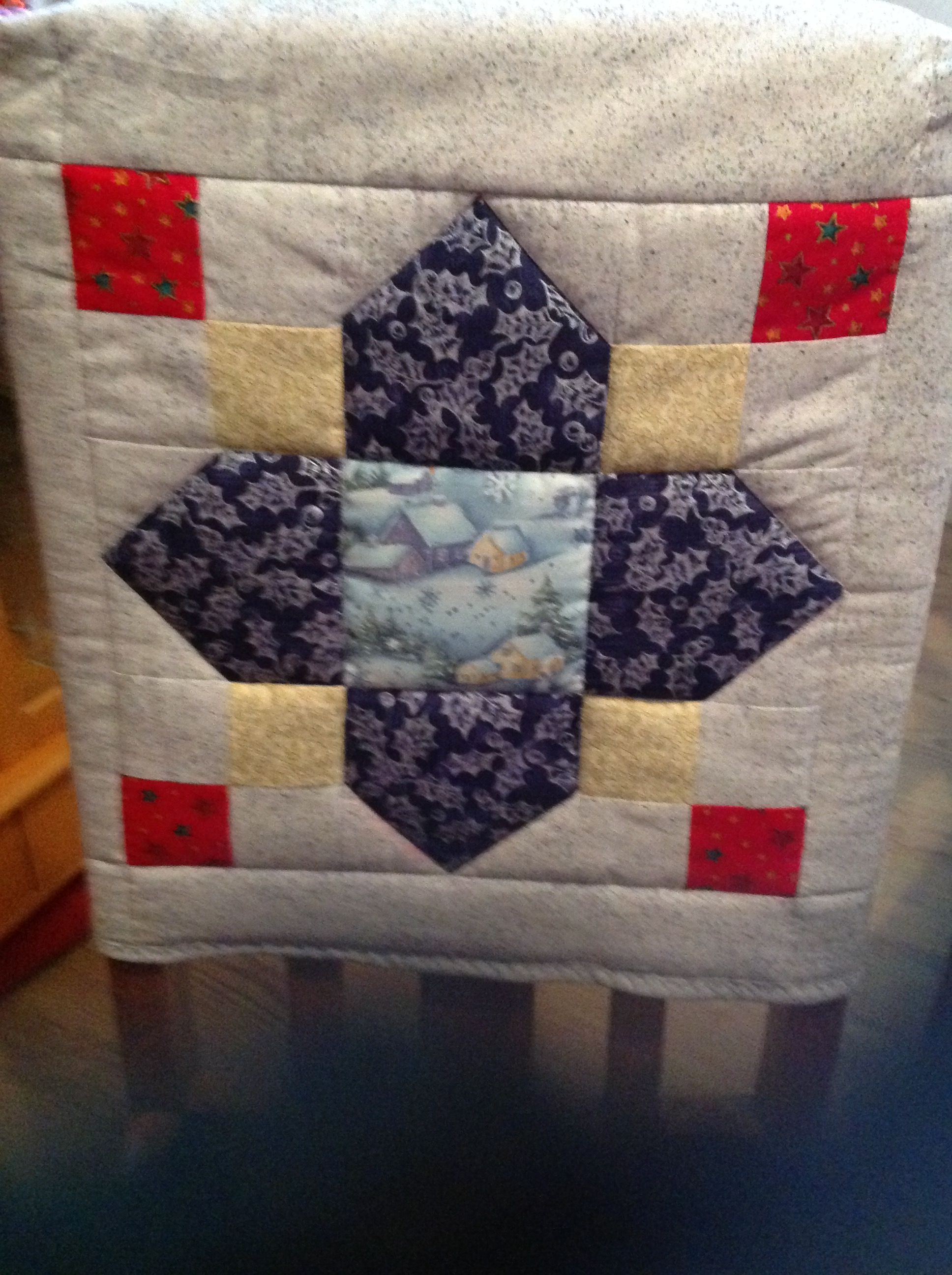 Christmas chair back covers - Trifoliate Quilt Block Used As Christmas Chair Back Cover