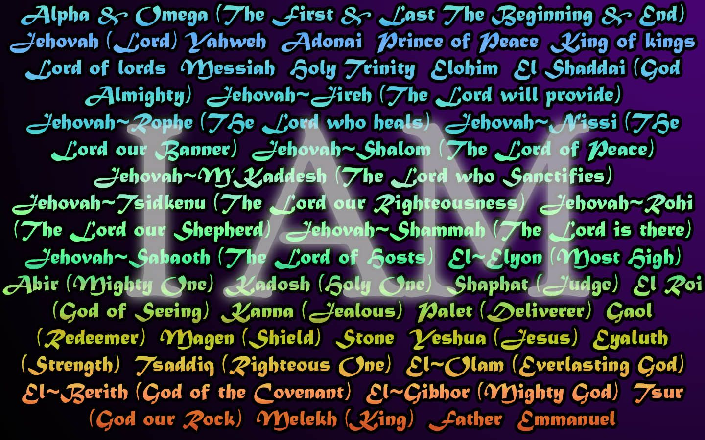 Barnes Bible Charts Names of God I AM Exodus 314 THE GOD OF THE SPIRITS OF ALL FLESH Numbers 1622 THE LIVING GOD Matthew 1616 THE GOD OF ALL