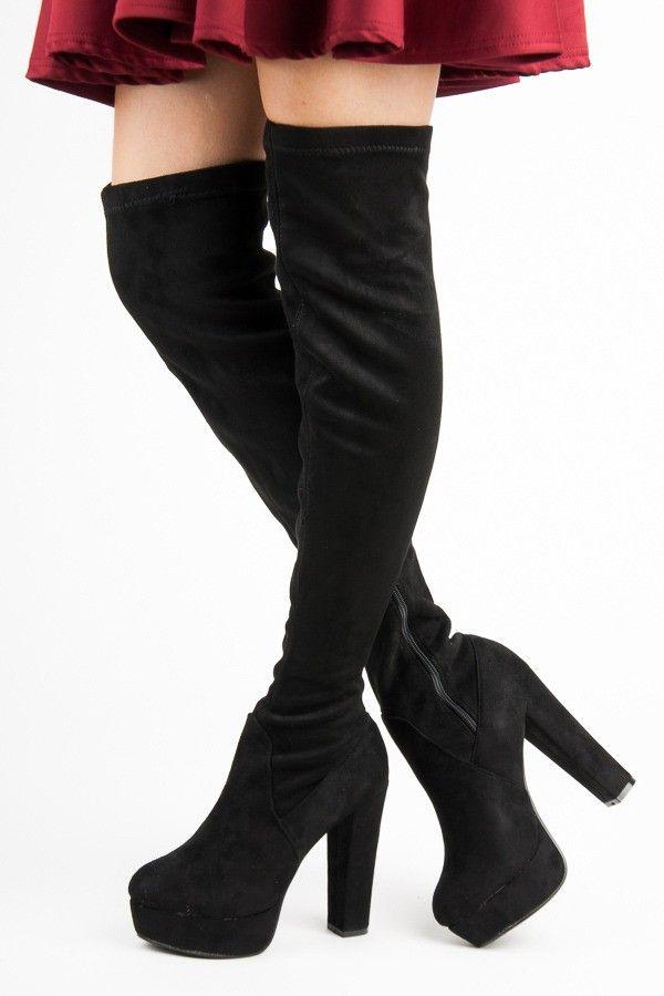 23e17e397 Sexy čierne čižmy na platforme 3131-1B   Dámske čižmy   Čižmy ...