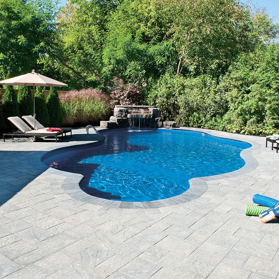 Poolside landscape. Project application using Ridgefield