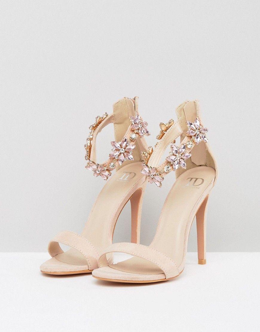 954c1d97efa True Decadence Embellished Ankle Strap Heeled Sandals - Pink