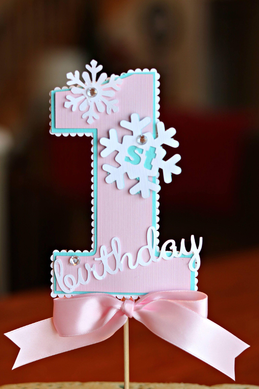 Girl Winter Onederland Cake Topper Smash Cake Snowflake Birthday