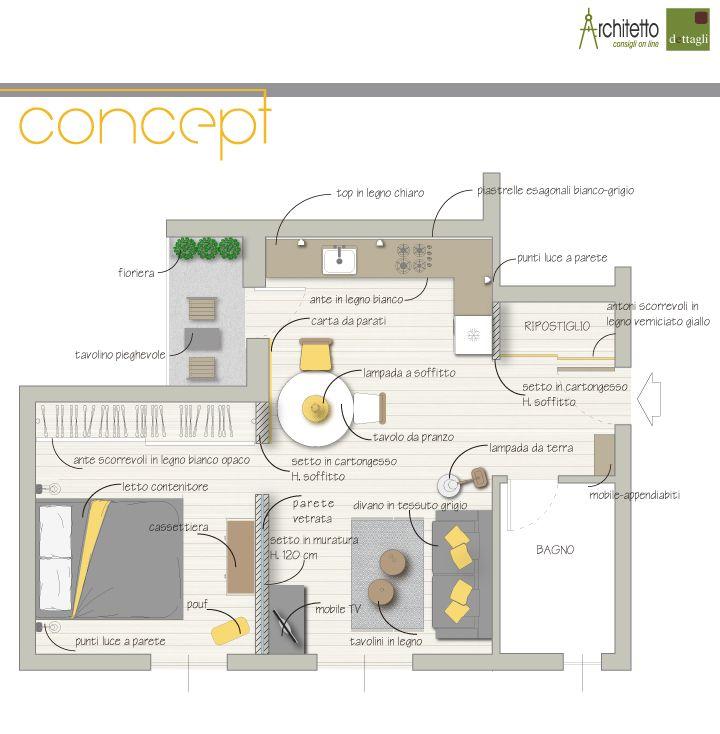 Un monolocale di 45 mq progetto di arredo interior for Progetti di arredamento
