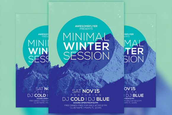 Minimal Winter Party Flyer Template  Winter Parties Party Flyer