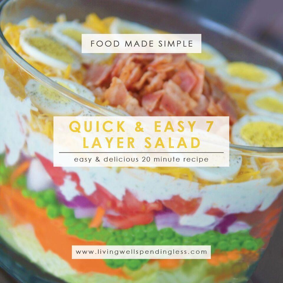 Easy Seven Layer Salad | Quick Seven Layer Salad Recipe | Yummy 7 Layer Salad | Salad Recipe | Layered Salad
