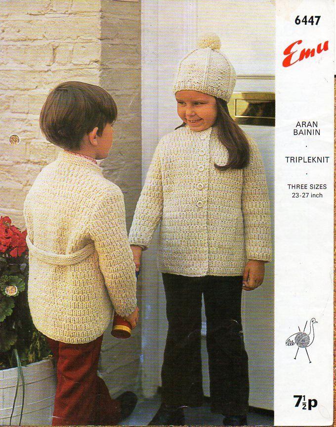 8b4f1d6a79c7 baby   childs coat hat knitting pattern pdf aran jacket cap Vintage ...
