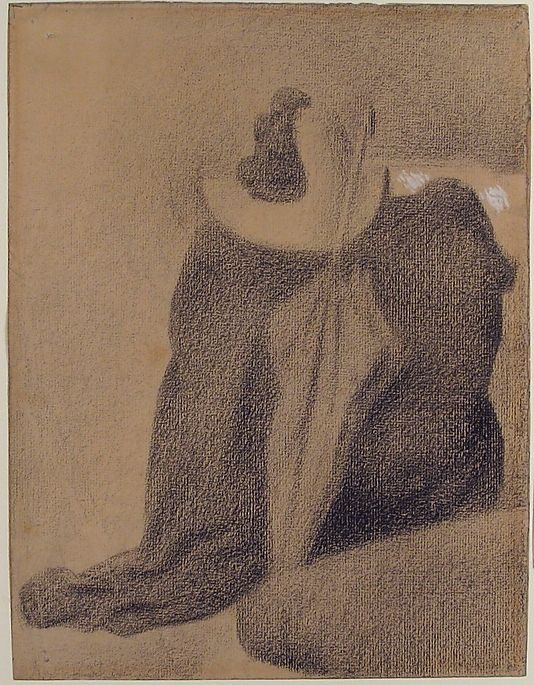 Still Life with Hat, Parasol, and Clothes on a Chair by Georges Seurat, 1887. Conté crayon and white gouache
