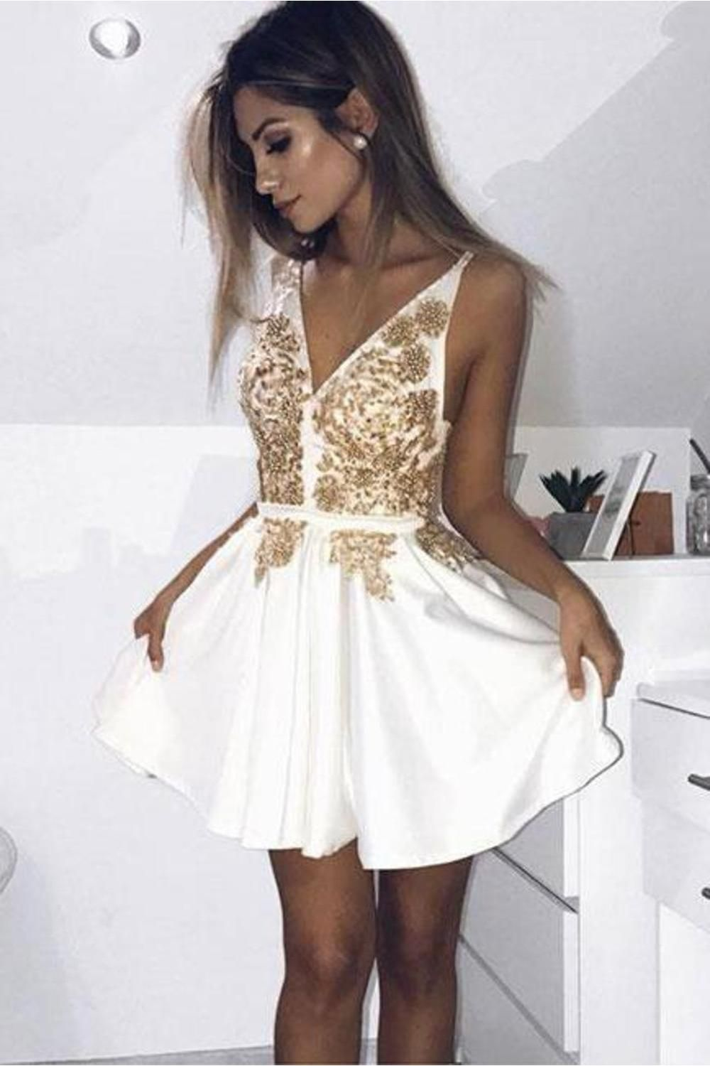 Cute V Neck Short Prom Dress, White Satin Homecoming Dress With Appliques - White homecoming dresses, Short prom dress, Homecoming dresses short, Prom dresses short, White evening dress, Mini prom dresses - Mini, FABRIC Satin, SLEEVE LENGTH Sleeveless, STYLES Chic & Modern, NECKLINE V Neck , VPPSYGTFKZ