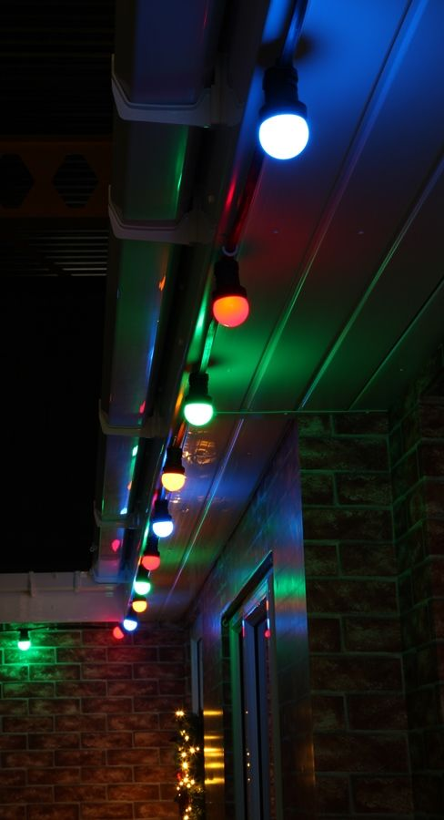 Multi colour #festoon lights along the guttering. These look fab at #christmas!