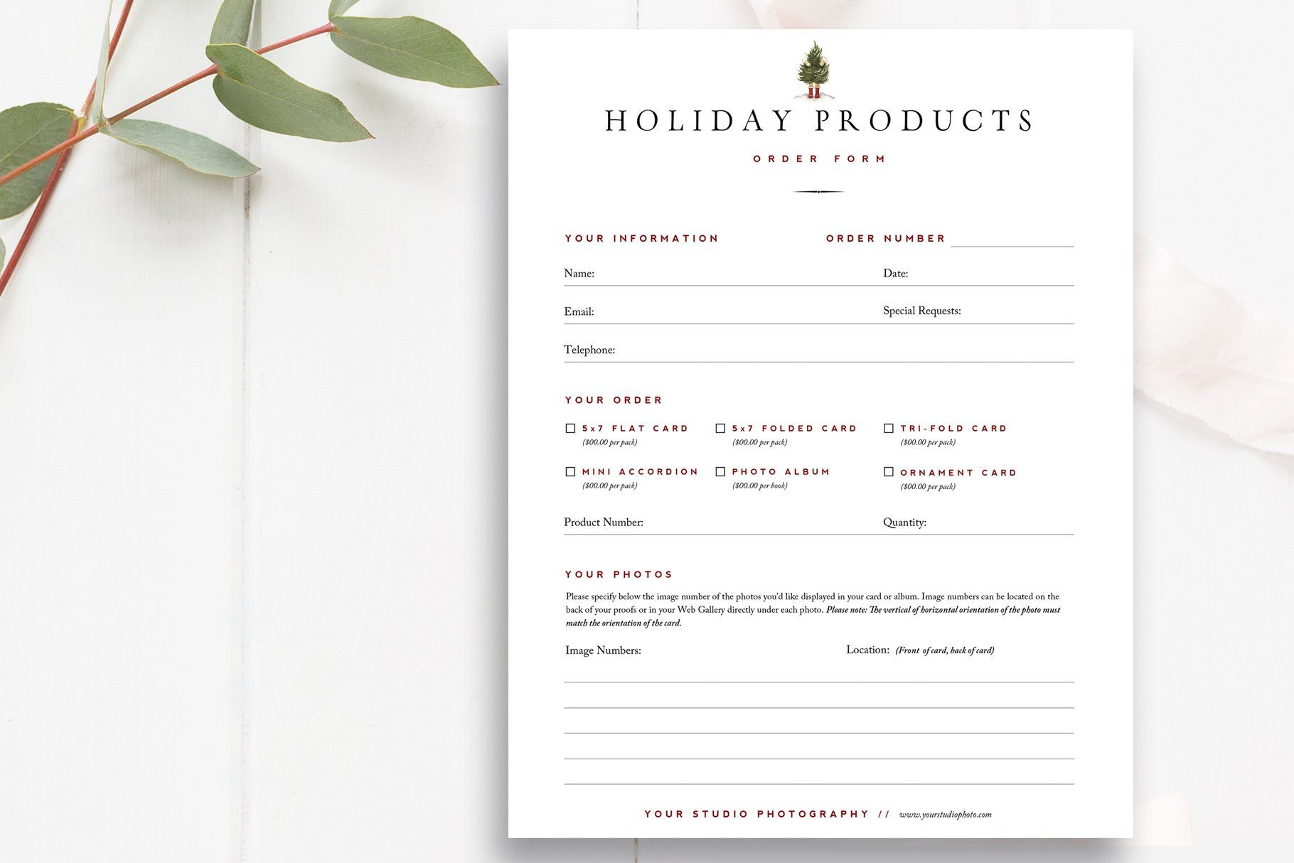 Christmas Card Order Form Psd Product Catalog Template Photoshop Template Design Stationery Templates