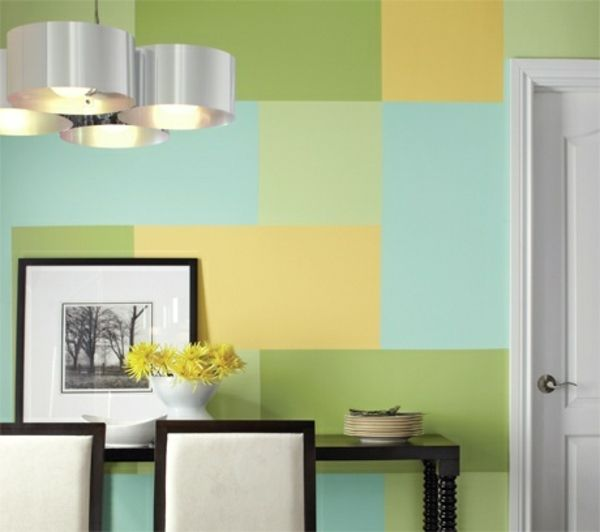 farbe fur kuche kuchenwand streichen, wall painting ideas and patterns - shapes and color combinations, Design ideen