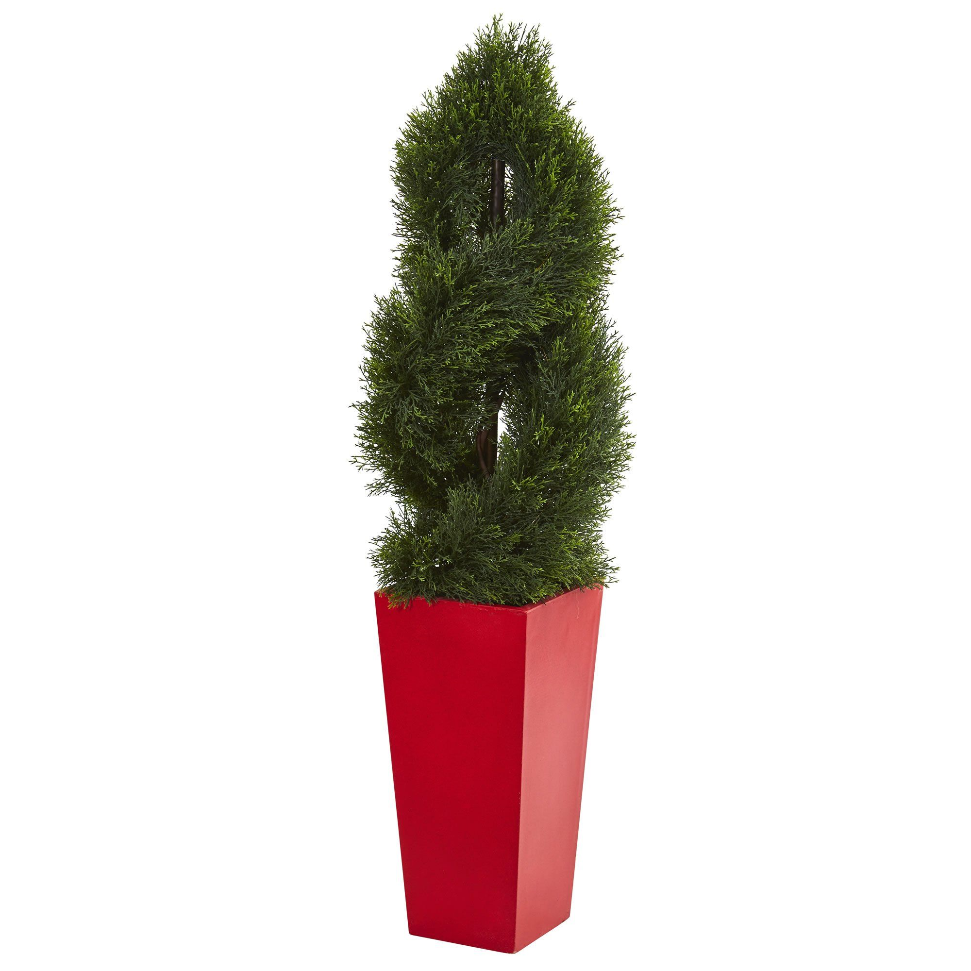 Artificial tree foot double pond cypress spiral tree with red