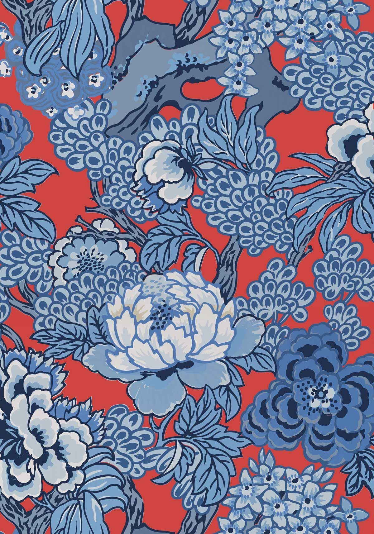 Honshu Wallpaper in Blue & Red Thibaut Dynasty
