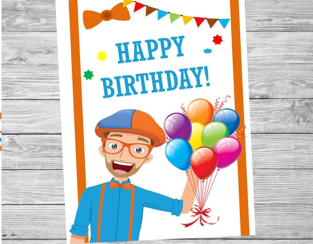 Blippi Poster Birthday Blippi Etsy Happy Birthday Cards Printable Birthday Card Printable Birthday Labels