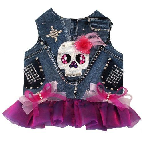 baee9c8d38 rocker glam denim skull dog harness vest  239.00  BitchNewYork   OrostaniCouture  Dogs  CanineCouture