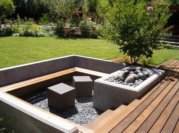 gartendesign sitzecken im garten rasenfläche steindeko | garden, Terrassen ideen