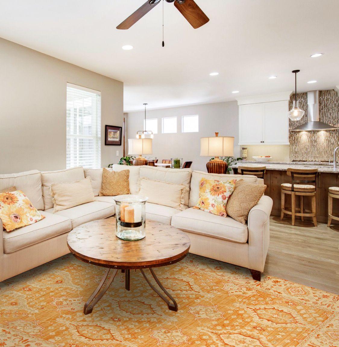 Room Settings View Quality Samad Rugs Samad Orange Rugs Modern Rugs Room #persian #rug #modern #living #room